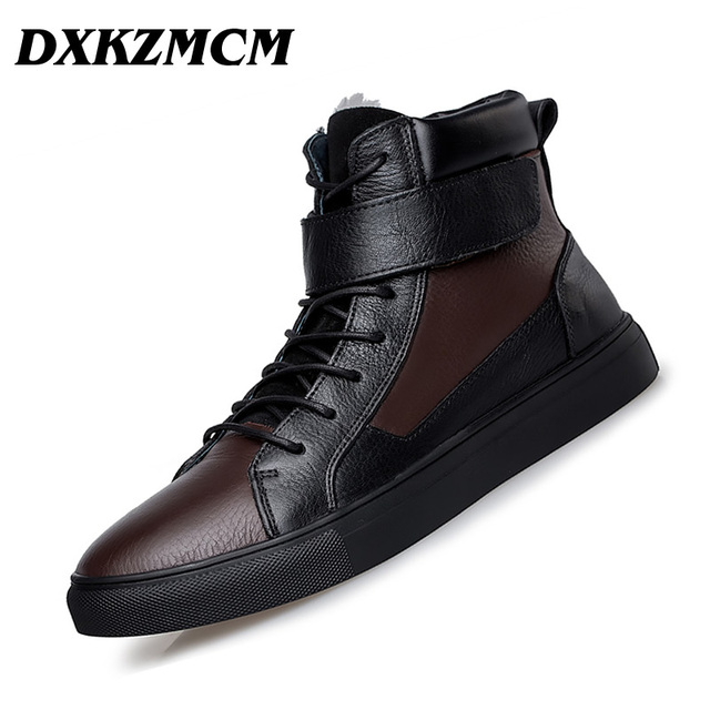 DXKZMCM Genuine Leather Casual Men Boots,Fashion Autumn Winter Ankle Warm Boots For Men