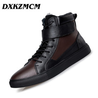 DXKZMCM Genuine Leather Casual Men Boots Fashion Autumn Winter Ankle Warm Boots For Men