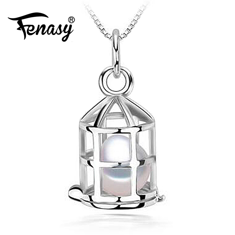 FENASY Natural Freshwater Pearl Pendant Necklace For Women Romantic Vintage 925 Sterling Silver Cage Pendant With Round PearlFENASY Natural Freshwater Pearl Pendant Necklace For Women Romantic Vintage 925 Sterling Silver Cage Pendant With Round Pearl