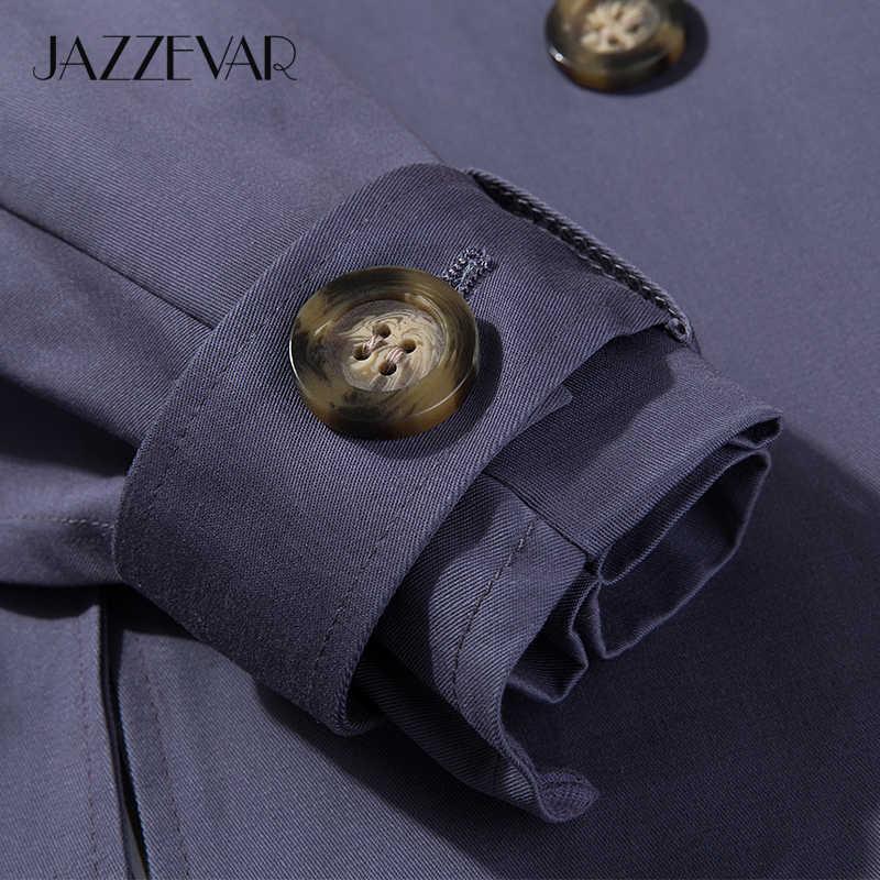 JAZZEVAR 2019 New arrival jesień khaki trencz kobiety casual długa odzież wierzchnia bawełna wysokiej jakości z paskiem moda kobiety 9009