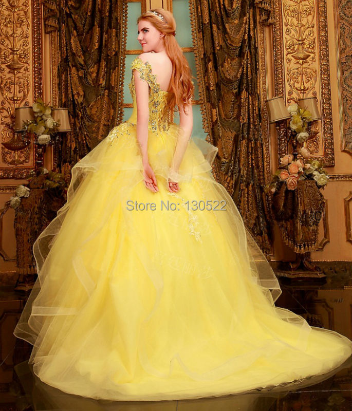 Free Shipping We 1644 Beaded Cap Sleeves Puffy Ball Gown Color Wedding Dress Yellow Dresses From China In Weddings Events On