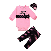 3pcs Baby Girls Clothes Set Long Sleeve Rompers Pants Hat Infant Spring Outfits Dots Leopard Bebe