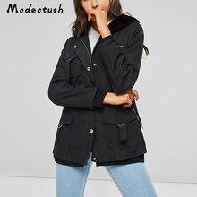Modecrush Womens Classic Wash Cotton Hooded Long Winter Jackets Coats 2019 Female Buckle Zipper Slim Casual Jacket Outerwear