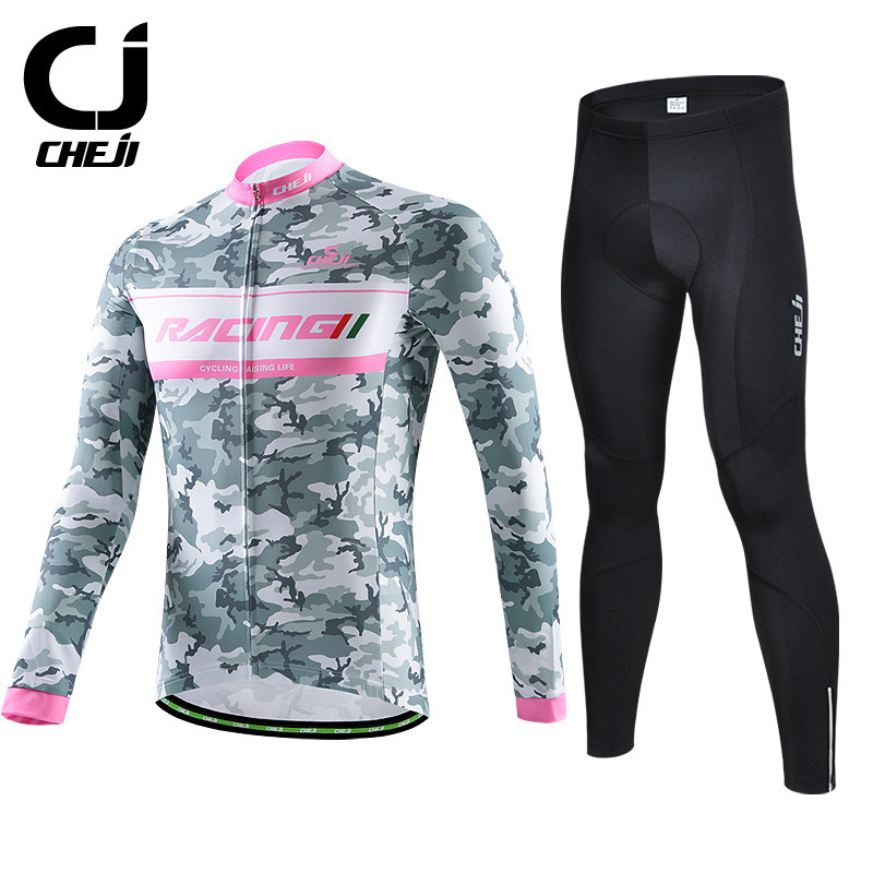 Men's Bicycle Clothing CHEJI Autumn / Spring Man Cycling Jerseys Sets Long Sleeve Mountain Bike Sportswear Shirts and Pants Pad nuckily quick dry anti uv long sleeve bicycle jerseys sets windproof cycling clothing gel padds bike pants cycling jerseys sets
