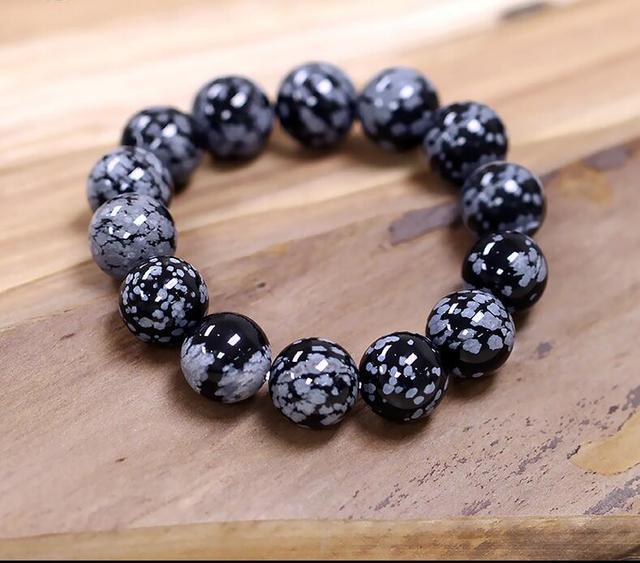 Zcd 2017 629 Pure Natural Snowflake Obsidian Bracelet