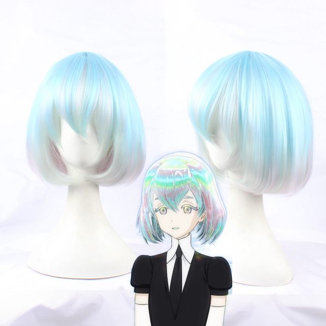 Anime Land of the Lustrous Houseki no Kuni Diamond Short Bob Cosplay Wig Synthetic Hair Halloween Costume Party Play Wigs