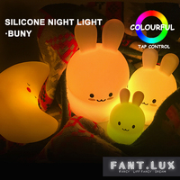 Bunny Led Night Light Cute Silicone Baby Nursery Lamp Battery Powered Bunny Tap Control Soft Touch