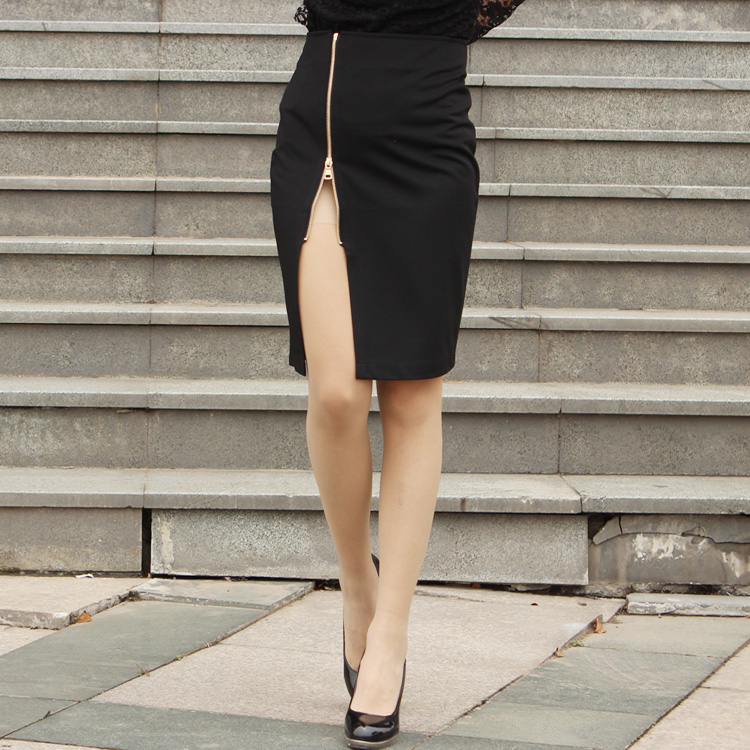 48ab281a2c Pencil Skirt White Black Wrap Skirts High Waisted Ladies Knee Length OL Front  Zipper Slit Midi Skirts Jupe Femme-in Skirts from Women's Clothing on ...