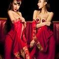 De calidad superior 2 unids mujeres tentación noche Robes Hot Sexy Red Floral malla de ropa interior Fantasia concubina pareja juego Cosplay Slips