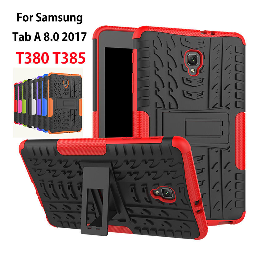 Case For Samsung Galaxy Tab A 8.0 T380 T385 2017 Cover Heavy Duty 2 in 1 Hybrid Rugged Durable Shockproof Rubber Tablet Funda tire style tough rugged dual layer hybrid hard kickstand duty armor case for samsung galaxy tab a 10 1 2016 t580 tablet cover