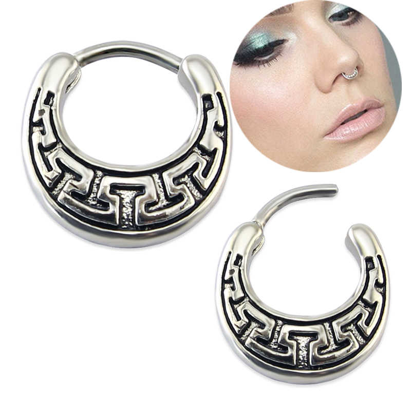 1pc Black Surgical Stainless Steel Nose Ring Piercing Jewelry