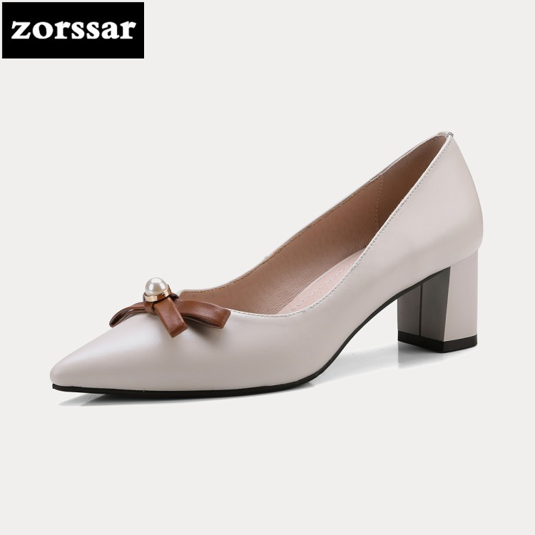 {Zorssar} 2018 Spring New fashion pearl Genuine Leather women High heels shoes Pointed toe thick heel pumps ladies Office shoes new genuine leather superstar solid thick heel zipper gladiator women pumps pointed toe office lady nude runway casual shoes l88