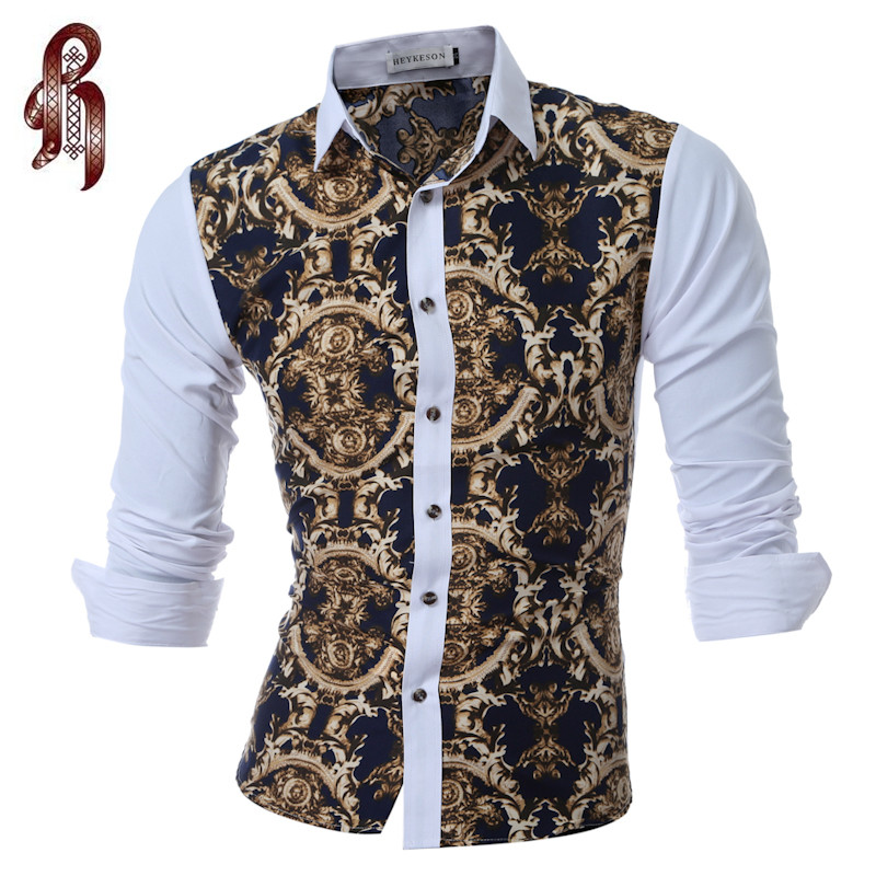 HEYKESON Men Shirt Brand 2017 Male Long Sleeve Shirts Casual Mens Great Body Pattern Printing Slim Fit Dress Shirts Mens XXL