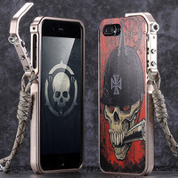 KANENG Aluminum Metal Bumper 3D Relief Back Cover Phone Cases For IPhone 7 7 Plus