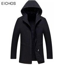EICHOS Spring Autumn Long Trench Coat Men Hooded Jacket Zipper Mens Overcoat Casual Black Windbreaker Slim Fit Long Coats