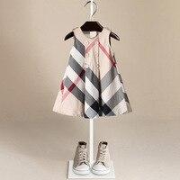Bebé niñas vestido 2018 verano niños del estilo americano europeo vestido sin mangas de la tela escocesa del algodón de las muchachas los cabritos del vestido