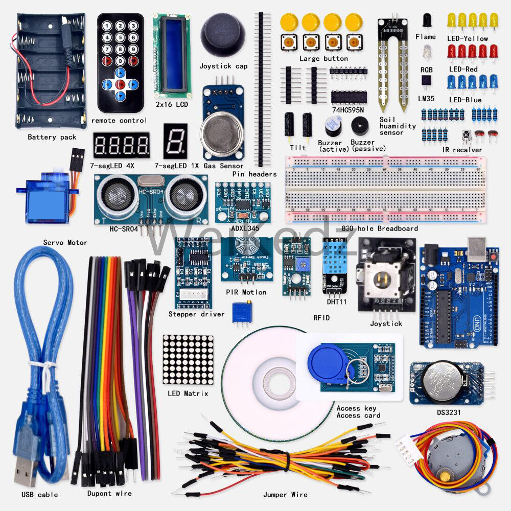 2018 New Promotion Electronic Diy Kit Free Shipping! Weikedz Super Starter Learning Kit(uno R3) For Ar-duino With 1602 Lcd Rfid