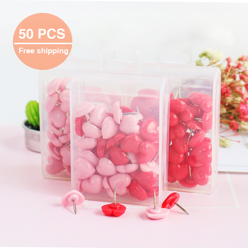 TUTU Heart shape 50pcs Plastic Quality Cork Board Safety Colored Push Pins Thumbtack Office School Accessories Supplies H0001 3