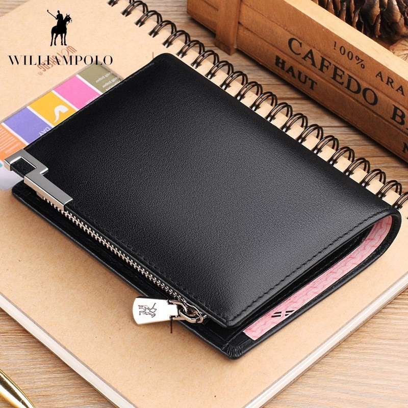 WILLIAMPOLO Men Wallets Purse Genuine Leather Wallet with Coin Pocket Zipper Short Credit Card Holder Wallet POLO181345 men wallets male purse genuine leather wallet with coin pocket zipper short credit card holder wallets men leather wallet