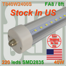Stock In US + 8 feet led 8ft single pin t8 FA8 Single Pin LED Tube Lights 40W LED Tube Lamps 85-277V NO Tax free shipping