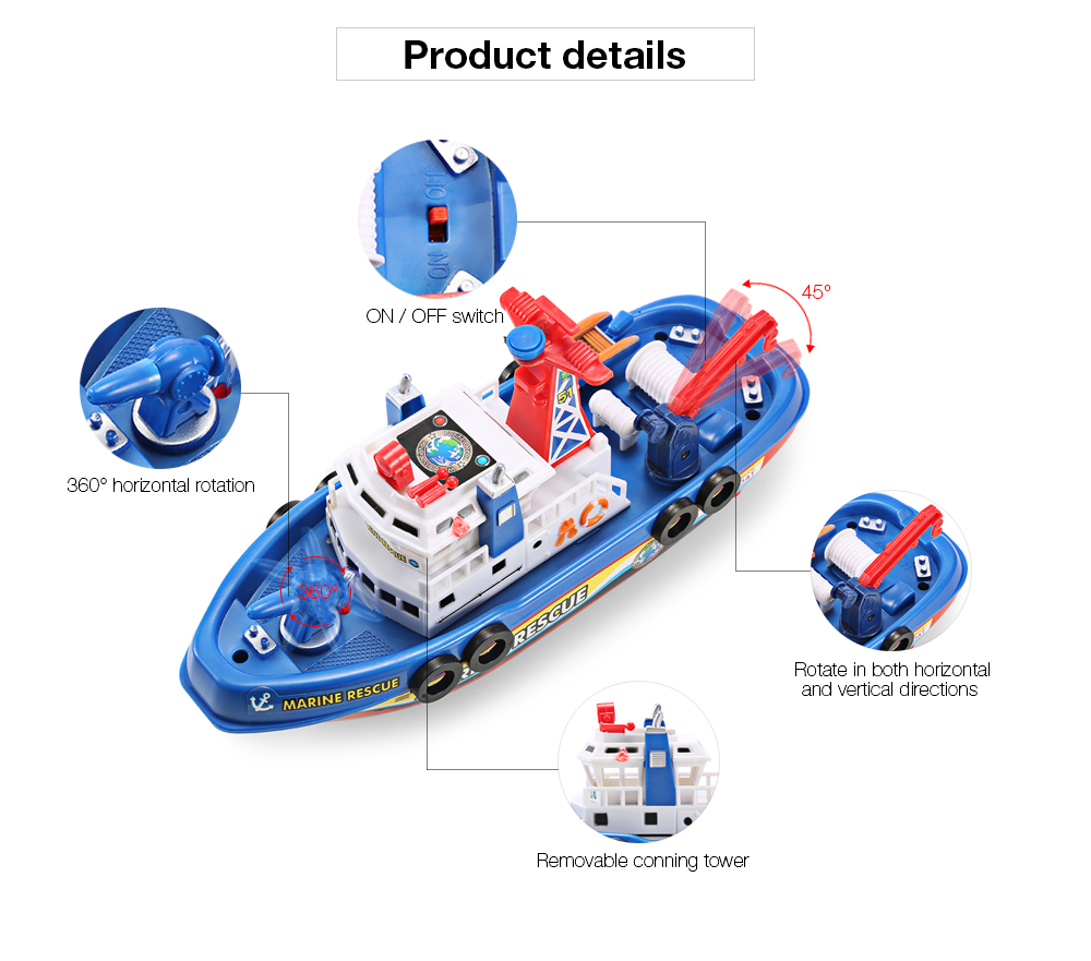 Electric Boat Children Marine Rescue Toys Boat Fire Boat Children Electric Toy (5)