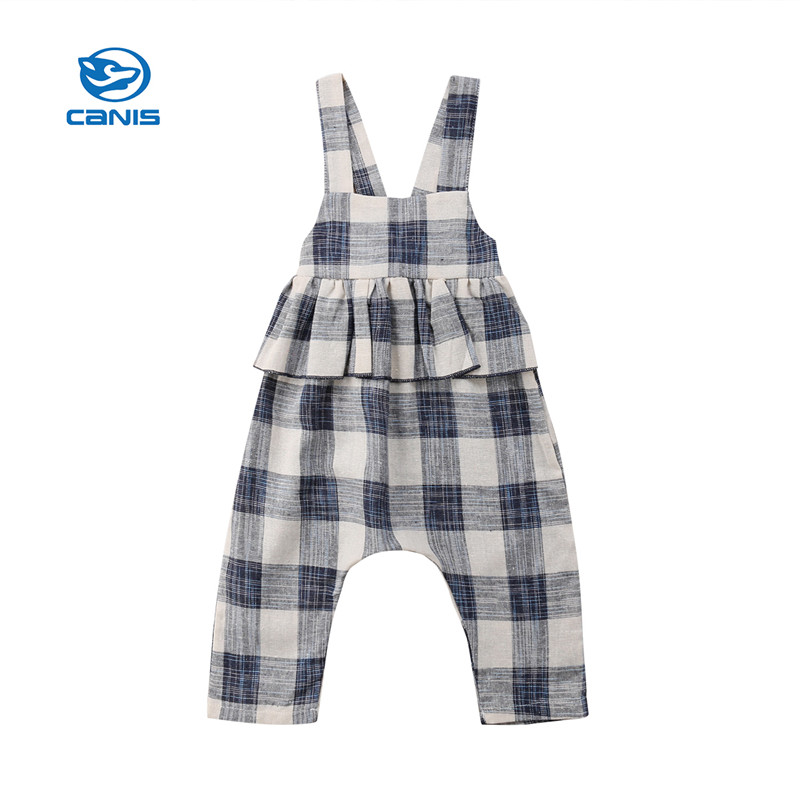 New Princess Kids Girls Straps Plaid   Rompers   Jumpsuits Trousers Outfits Clothes Baby Clothes Cotton Sleeveless   Rompers   Sets