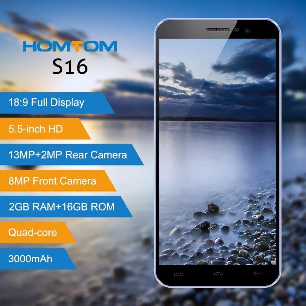 HOMTOM S16 Cellulare 5.5 Pollice 18:9 2 GB + 16 GB Fotocamera Posteriore 13MP + Fotocamera Anteriore 8MP MTK6580 Quad-Core 3000 mAh Smartphone Batteria