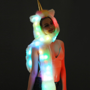 Faux Fur LED Unicorn Hat
