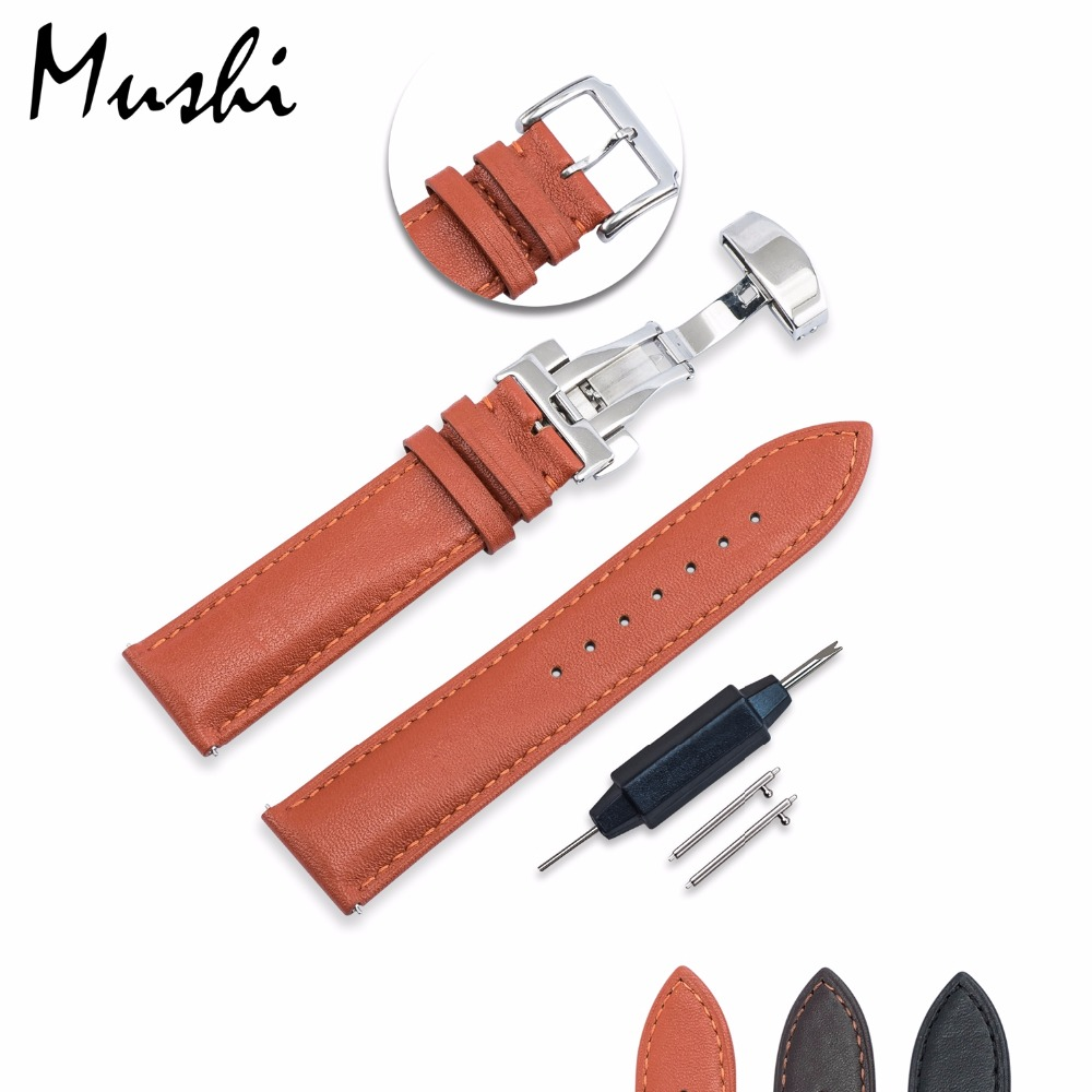 MS Watch Strap Quick Release Calfskin Genuine Leather Watch Band with Butterfly Pin Buckle 18 20 22 mm Watch Bracelet Men Women maikes hq 16 18 20 22 24 mm genuine alligator leather strap watch band brown with pin buckle men watchbands bracelet accessories