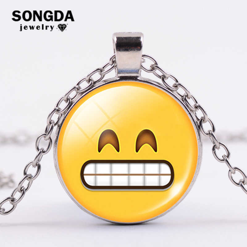 SONGDA Funny Smiley Face Emoji Necklace Cartoon Symbol Printed Glass Time Gem Round Pendant Choker Fashion Jewelry Creative Gift