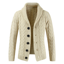 Loldeal Men's Stylish Stand Collar Cable Knitted Button Cardigan Sweater