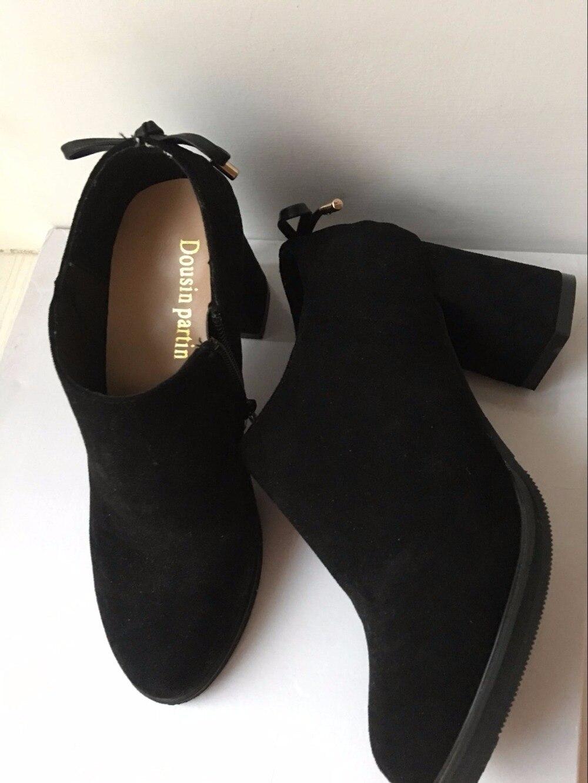 Dousin Partin propre Designer femmes chaussures automne talons épais talons hauts bas en daim cuir chaussures femmes-in Bottines from Chaussures    3