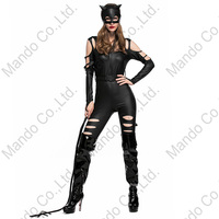 Girls Masquerade party outfit Girl Sexy Cat cosplay costume Women Black PU jumpsuit halloween party outfit