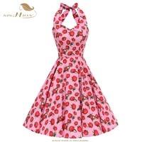 SISHION 50s 60s Rockabilly Vintage Dress Women Halter Summer Sexy Backless Pink Polka Dot Strawberry Dresses VD0746