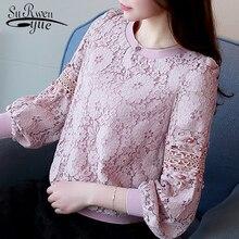 Модная розовая кружевная блузка женская рубашка с длинным рукавом полые кружевные женские блузки блузок блузок Топы рубашка женская одежда блузок 668C 30