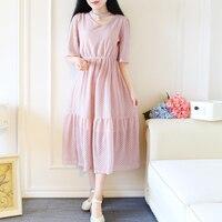 2017 New Summer Cute Women Dress Ruffles Short Sleeve Lace V Neck 669 Small Qing Long