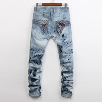 European American Style Fashion Brand Men Jeans Luxury Men S Casual Denim Trousers Slim Blue Straight