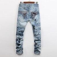 European American Style Fashion Brand Men Jeans Luxury Men S Casual Denim Trousers Slim Blue Straight