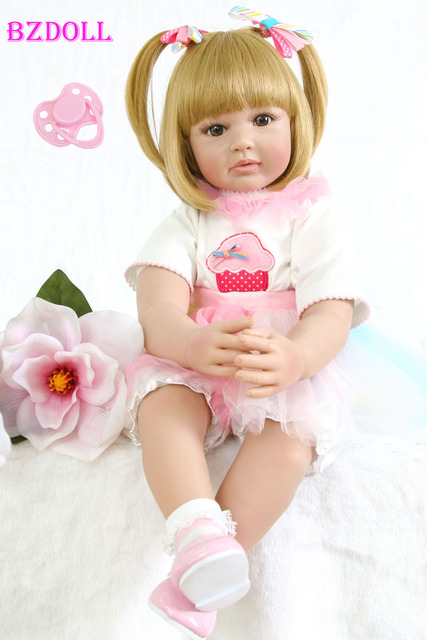 60cm Silicone Reborn Baby Doll Toy Realistic 24inch Vinyl Toddler Princess Girls Babies Doll Fashion Gift