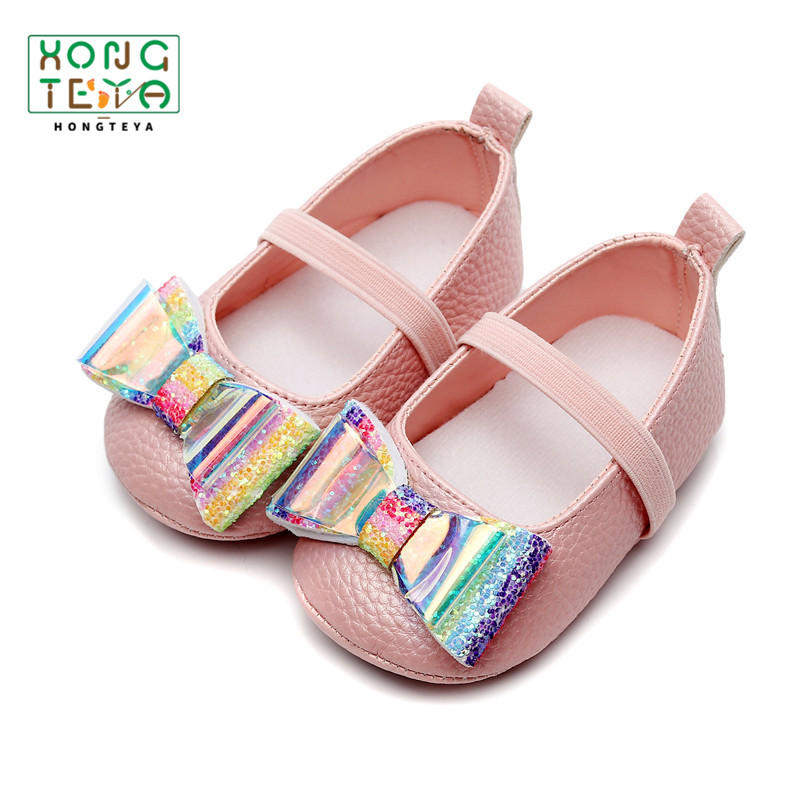 Newborn Baby Girl Ballet Shoes Rainbow Bow Baby Moccasins PU Leather Soft Soled Infant Toddler First Walker For Baby 0-24 Months