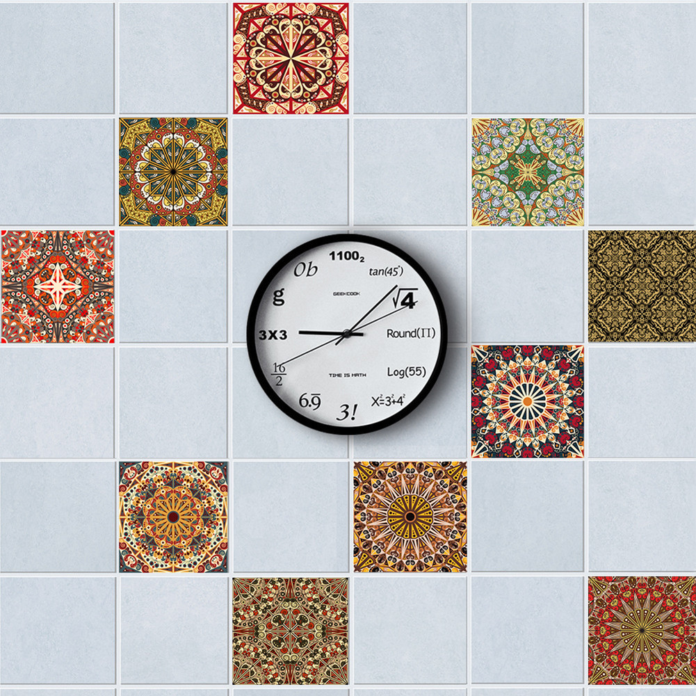 10pcs/set Mediterranean Style Self Adhesive Tile Stickers Art Wall ...