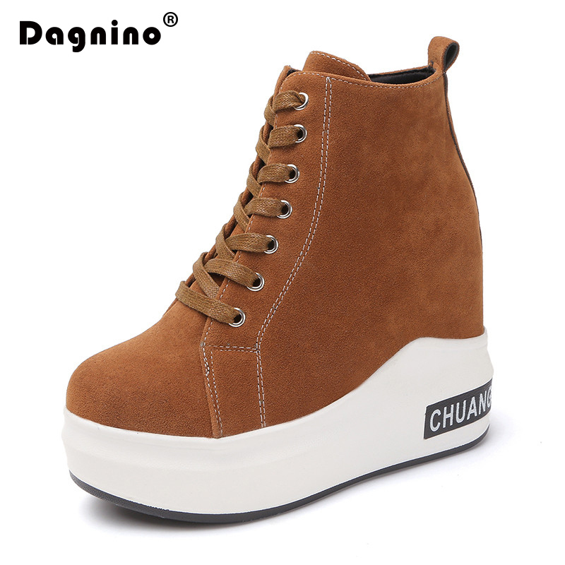 DAGNINO New Flat Platform Wedge Heel Ankle Boots Women With Increased Girl Fashion Casual Zip High Heels Shoes Sneakers Female nayiduyun women genuine leather wedge high heel pumps platform creepers round toe slip on casual shoes boots wedge sneakers