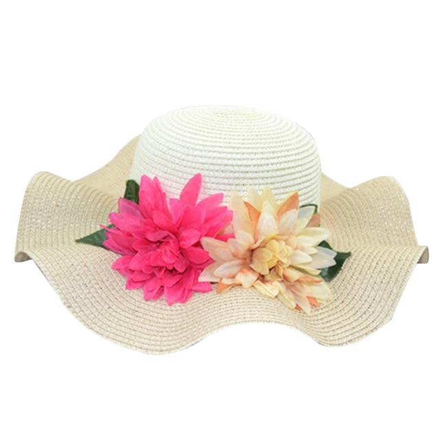 Mulheres quentes do Estilo-Dois Tons Ondulado Borda Flores Grandes Cap  Praia Dobrável Chapéu de af2e1e10bb5