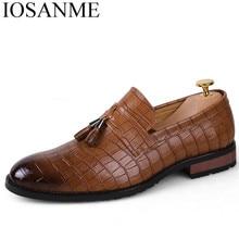 men shoes tassel leather luxury brand italian formal dress footwear male snake