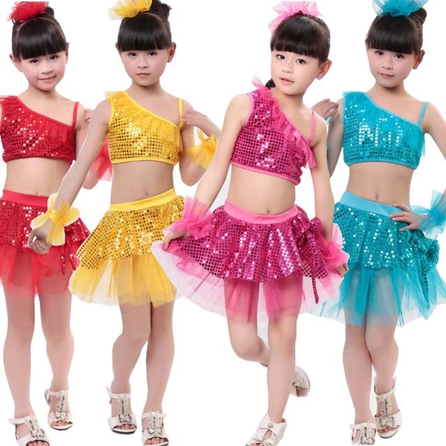 621b4b2eb738 Girls Sequined Jazz Modern Dancing Costumes dress Kids Children s ...