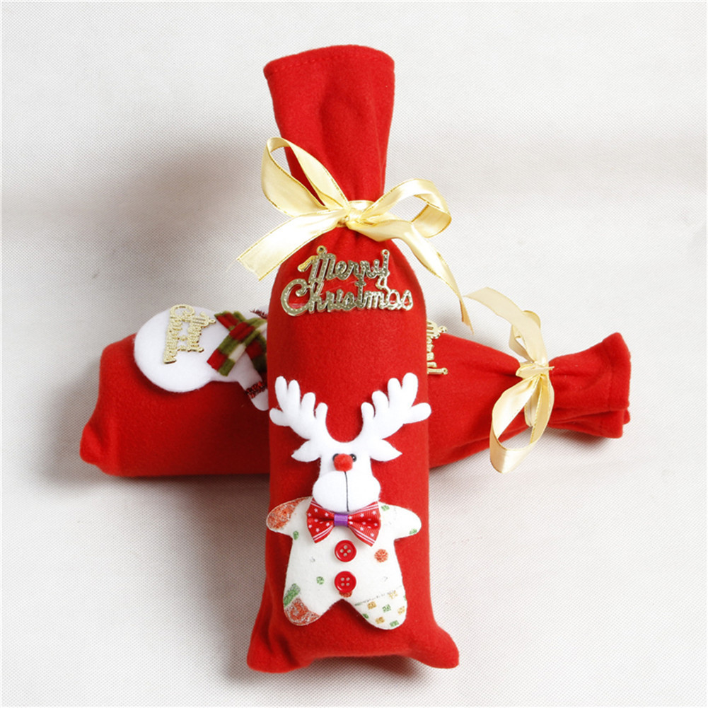 3Pcs Christmas Wine Bottle Cover Holiday Red Wine Bags Wine Gift ...