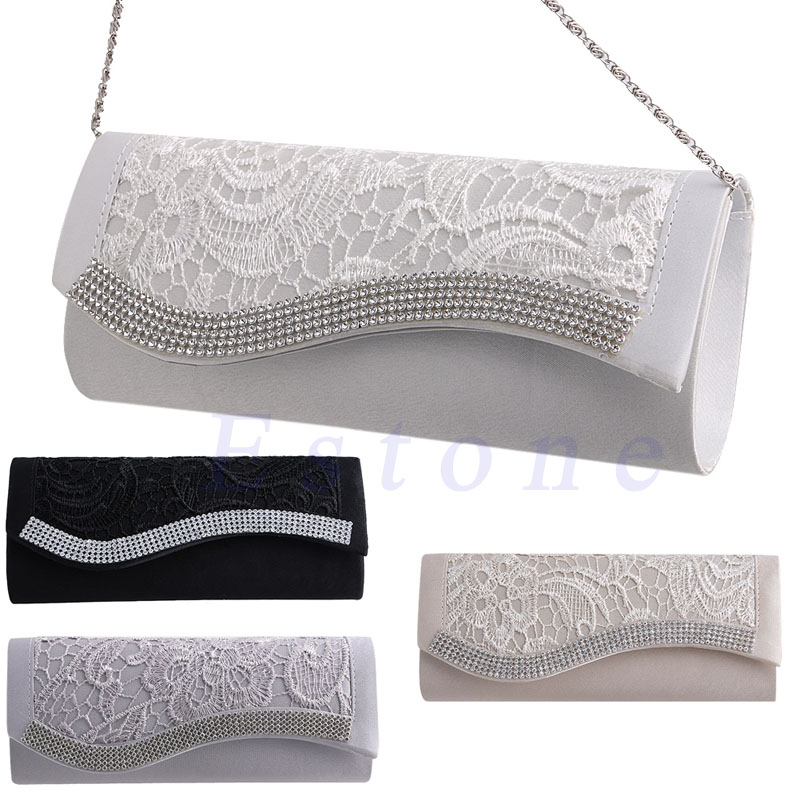 New 1Pc Womens Floral Lace Stain Elegance Evening Wedding Party Bridal Clutch Bag Purse alex evenings new purple plum sheer floral lace womens size 6 shrug jacket $90