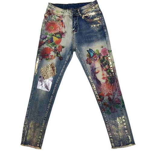plus size 25 32 2019 spring autumn Pencil  Stretchy Jeans With 3D Flowers pattern Painted Elegant Denim Women skinny Jeans-in Jeans from Women's Clothing