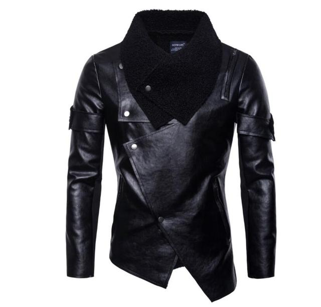 mens leather jacket slim motorcycle coat personalized jackets pu clothes jaqueta de couro stage street dance rock fashion black