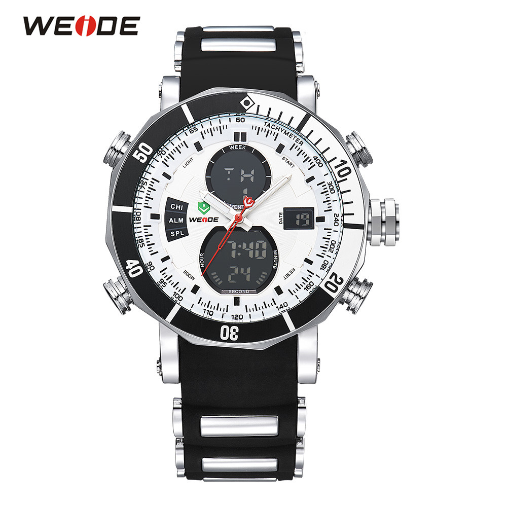 Fashion WEIDE Waterproof Sport Watch Men Digital Quartz Watch White Dial PU Rubber Strap Military Wristwatch Relogios Masculinos купить недорого в Москве